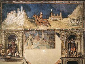 Guidoriccio da Fogliano at the siege of Montemassi - Image: Simone Martini Equestrian portrait of Guidoriccio da Fogliano WGA21430