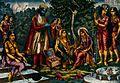 Sita in captivity in Lanka being tempted by Ravana. Chromoli Wellcome V0045021.jpg
