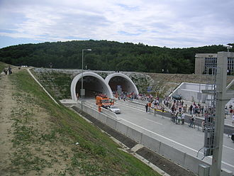 Sitina Tunnel - Northern entrance to the tunnel, at the opening ceremony on 23 June 2007