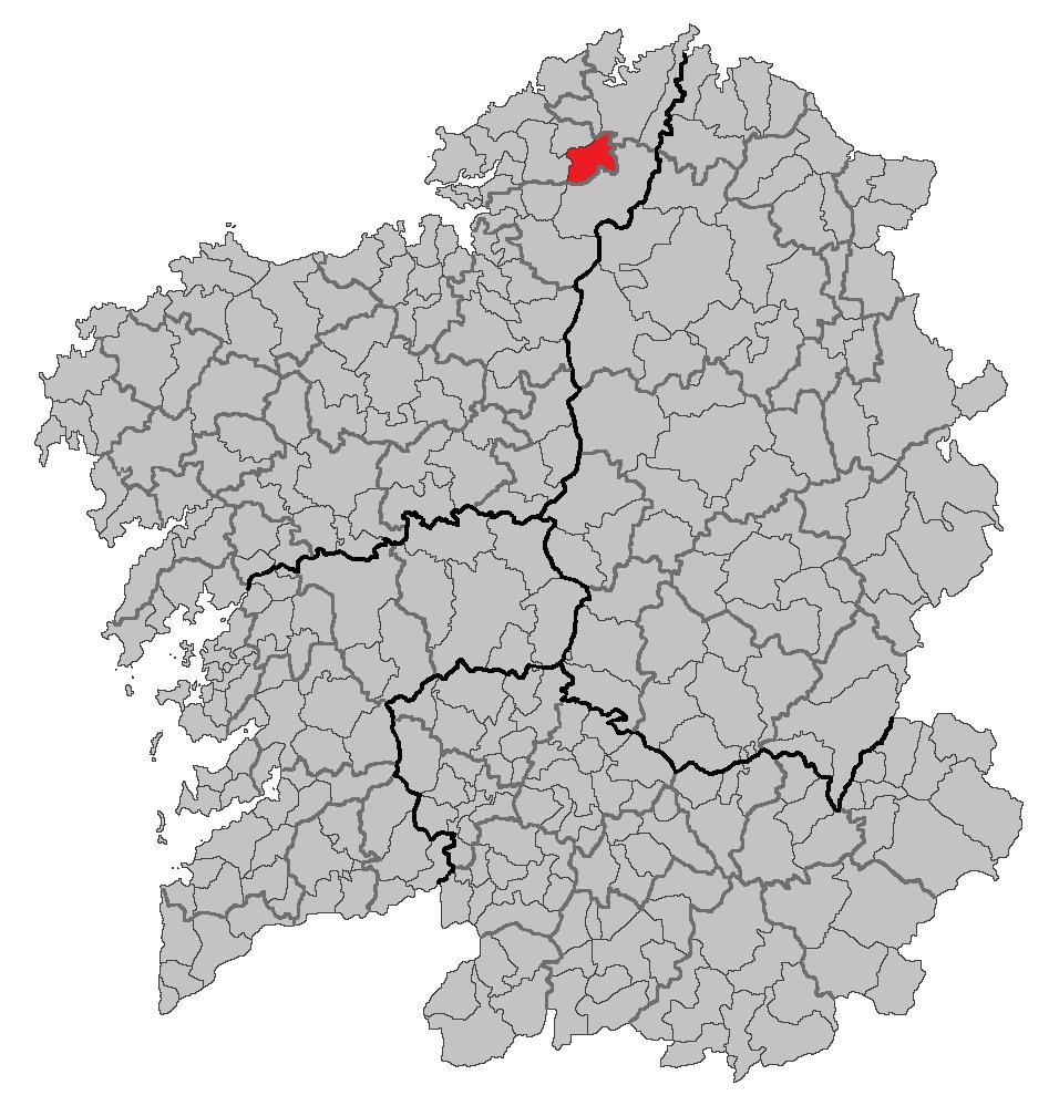 Локација на Ас Сомозас во Галиција
