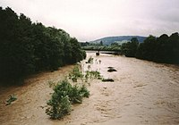 Skawa River, Poland, flood 2001.jpg