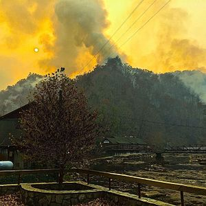 2016 Southeastern United States wildfires - Smoke from the Tellico Fire near the Nantahala Outdoor Center