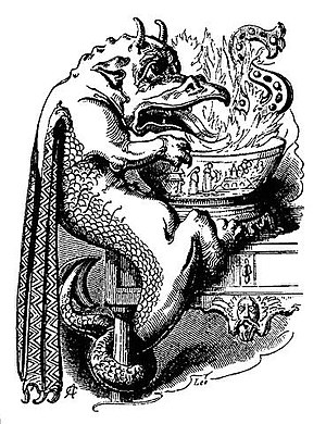 Snap-dragon (game) - Fanciful image of a dragon playing Snap-dragon, from Robert Chambers' Book of Days (1879)