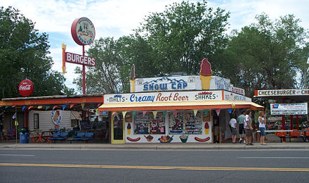 Delgadillo's Snow Cap Drive-In in Seligman, AZ. The eatery is still a popular tourist stop. Snow cap seligman.jpg