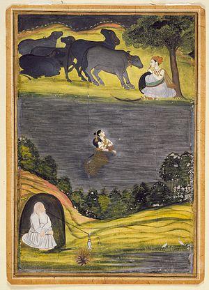 Sohni Mahiwal - Sohni swims to meet her lover Mahiwal