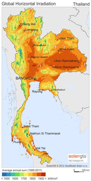 Solar power in Thailand - Image: Solar GIS Solar map Thailand en