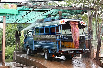 Car wash - A truck wash in Savannakhet, Laos