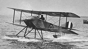 "Sopwith Aviation Company - The Sopwith ""Schneider"" (a float-equipped Sopwith Tabloid) at the 1914 Schneider Trophy in Monaco."