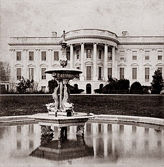 South Lawn (White House) - A c. 1868 stereograph showing the earliest fountain on the South Lawn