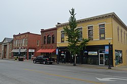 Corner of Main Street and West Columbia Street, featuring the historic Goldenburg Furniture building