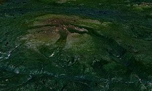 Level Mountain - Level Mountain as seen looking to the north. This satellite image shows the gently sloping surface of the massif.