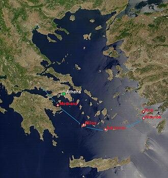 Santorini caldera - The South Aegean Volcanic Arc includes the volcanoes of Methana, Milos, Santorini and Nisyros.