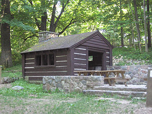 Pokagon State Park - The Spring Shelter, so named because of the artesian spring nearby, was built by the Civilian Conservation Corps in 1937 during the Great Depression.