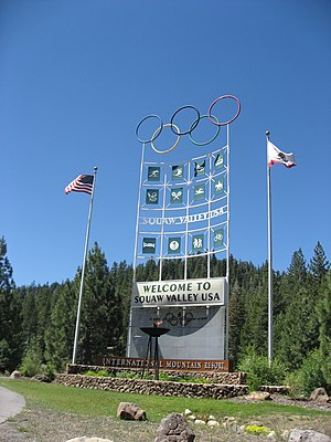 1960 Winter Olympics - Sign outside Olympic Village at Squaw Valley