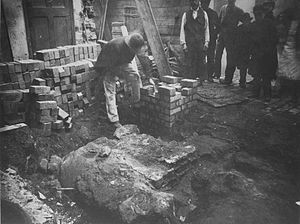 Priory of St Thomas of Canterbury, Birmingham - The foundations of the Priory, exposed during 19th century building works in the Minories