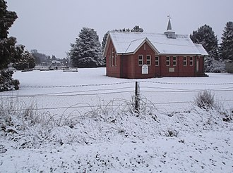 Hobbys Yards, New South Wales - St Peters Uniting Church in winter 2015, from the North