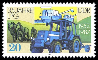 Landwirtschaftliche Produktionsgenossenschaft - East German stamp celebrating 35 years of LPGs