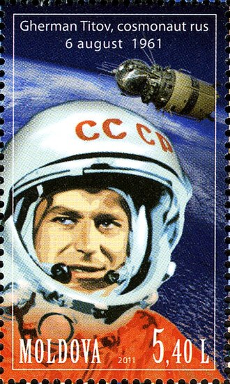 Gherman Titov - Gherman Titov on a Moldovan stamp