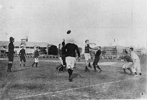Australian rules football in Queensland - Australian Football Premiership Grand Final at the Brisbane Cricket Ground, 1907. Locomotives defeated Wynnum by 40 points.