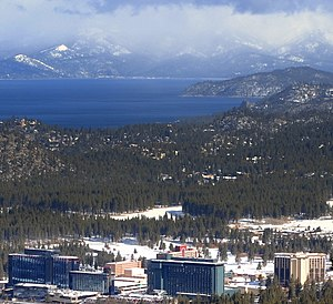 Stateline, Nevada - View of Stateline from near Heavenly Mountain Resort. Lake Tahoe in background.