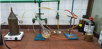 Steam distillation - Steam distillation apparatus, showing aniline steam distillation