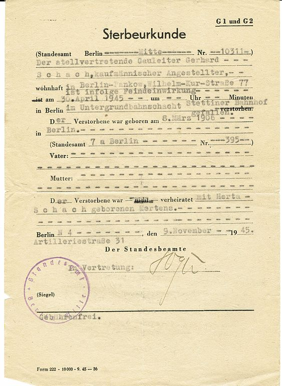 File:Sterbeurkunde Gerhard Schach gestorben 30.04.1945.jpg ...