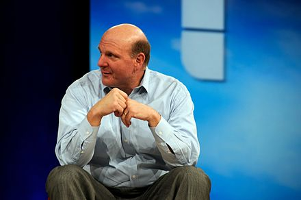 CEO Steve Ballmer at the MIX event in 2008. In an interview about his management style in 2005, he mentioned that his first priority was to get the people he delegates to in order. Ballmer also emphasized the need to continue pursuing new technologies even if initial attempts fail, citing the original attempts with Windows as an example. Steve Ballmer - MIX 2008.jpg