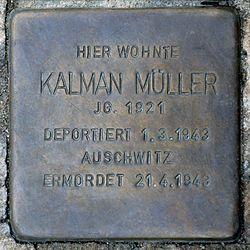 Photo of Kalman Müller brass plaque