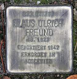 Photo of Klaus Ulrich Freund brass plaque