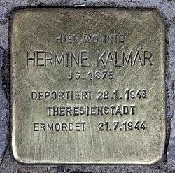 Photo of Hermine Kalmár brass plaque