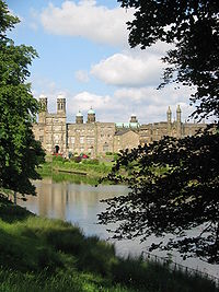 Stonyhurst College looking from the golf course towards the oldest part of the school