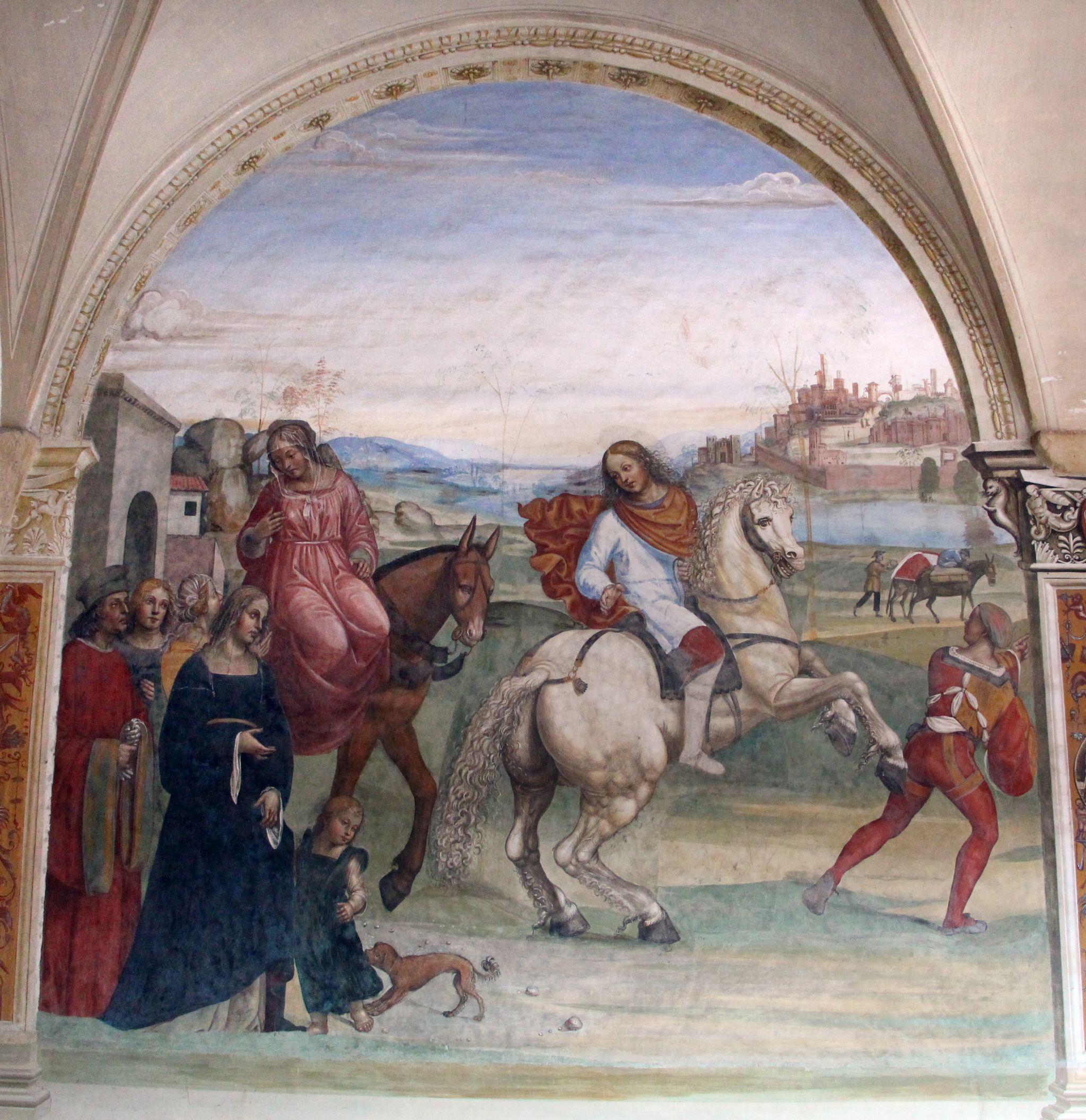 Storie di s. benedetto, 01 sodoma - Come Benedetto lascia la casa paterna e recasi a studio a Roma 00