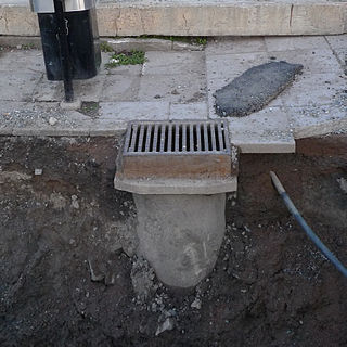 Storm drain Infrastructure for draining excess rain and ground water from impervious surfaces such as paved streets