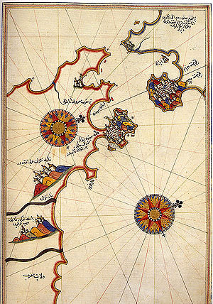 Battle of Gibraltar (1621) - Historic map of the Strait of Gibraltar by Piri Reis
