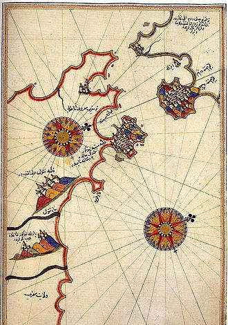 Battle of Gibraltar (1621) - Historic map of the Strait of Gibraltar by Piri Reis