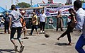 Street football match at Rabaa al Adaweya encampment Cairo 12-Aug-2013.jpg