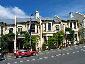 Stuart Street, Dunedin - Historic terraced houses below Moray Place in Upper Stuart Street.