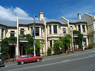 Stuart Street, Dunedin - Historic terraced houses below Moray Place in Upper Stuart Street.