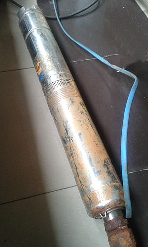 Submersible pump - A 0.75 H.P. bore-well submersible pump, had been used to pump groundwater.