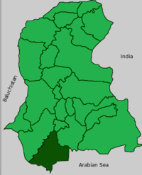 Map of Sindh with Sujawal  District highlighted