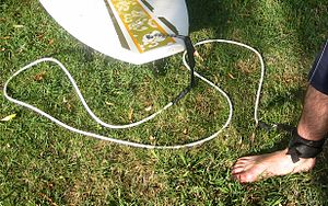 Photo of plastic cord attached to surfboard and velcroed around surfer's ankle