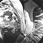 Surprise Glacier, valley glacier terminus with medial moraine, August 22, 1979 (GLACIERS 5070).jpg