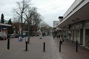 Traffic in Towns - Gracechurch Shopping Centre, Sutton Coldfield, Birmingham. An example of the new style of 1960-70's pedestrian precinct, separated from the historic road network, but at the cost of demolition of the earlier town shopping parade