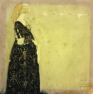 "Among Gnomes and Trolls - ""She wandered alone for hours.""–The Swan maiden, John Bauer 1908."