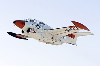 Naval Air Station Patuxent River - A T-2C Buckeye, assigned to the U.S. Naval Test Pilot School at PAX River, used for training experienced pilots in test pilot methods