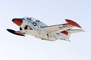 A T-2C Buckeye, assigned to the U.S. Naval Test Pilot School at PAX River, used for training experienced pilots in test pilot methods.