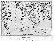 Tadoussac in about 1612, illustrated by Samuel de Champlain