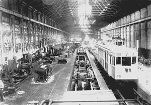 Polvorín Workshop - Interior of the workshop housing La Brugeoise cars (1913).