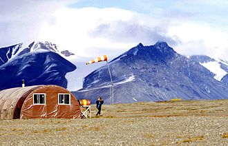 Tanquary Fiord Airport - Tanquary Camp and wind sock at Tanquary Fiord Airport