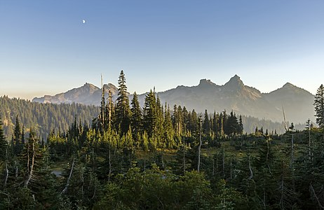 Tatoosh Range from Paradise, Mount Rainier National Park, with forest fire haze